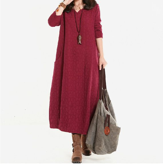 Women Cotton Linen Dress Loose Dress Autumn Dress Long Sleeve Dress Large Size…