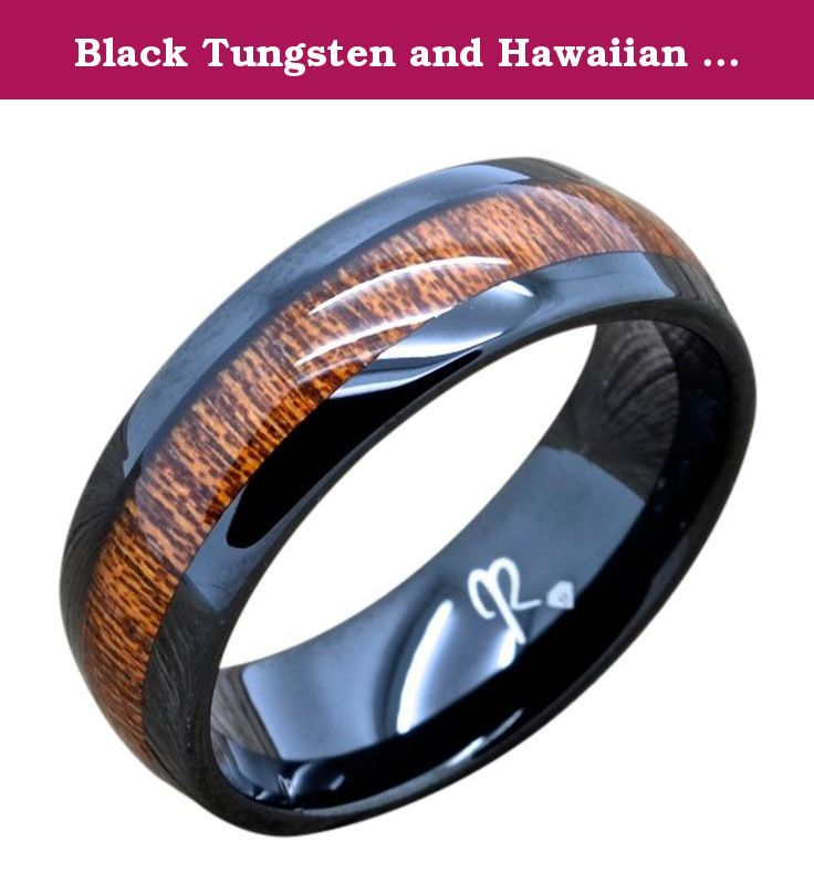Black Tungsten and Hawaiian Koa Wood Wedding Band, 8MM Wide Comfort Fit Domed Men's Ring (12.5). Tungsten Rings are one of the most popular bands in the world today. Tungsten Rings are the kind of rings which are very tough and very long lasting. Tungsten carbide rings provide comfort and the rings surface is scratch resistant for life. Recently Tungsten wedding rings have become very popular for Married and engaged couples to own versus the traditional wedding band. Tungsten rings are...