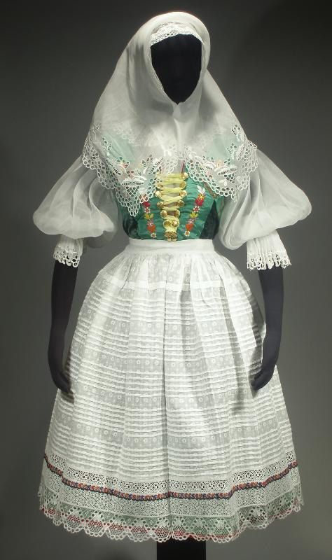 Complete Woman's Slovak Folk Costume from Castkov, Slovakia - embroidered batiste blouse | pleated wool skirt | lace cap | kerchief | apron