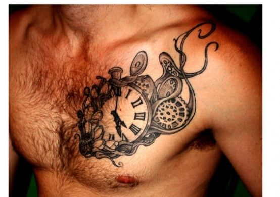 Old clock design tattoos on chest