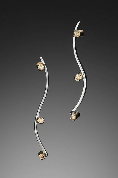 S Curve Diamond Earrings by Kennedi Milan: Gold, Silver, & Stone Earrings available at www.artfulhome.com
