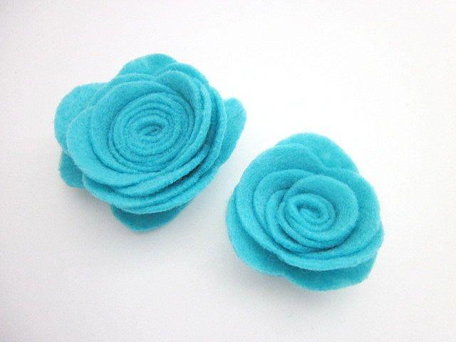 Aqua Fabric Flower -- Aqua Flower Clip -- Aqua Blue Brooch -- Aqua