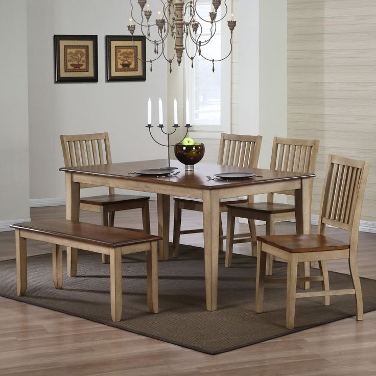 Sunset Trading Brookdale 6 Piece Rectangle Dining Set with Bench - A  farmhouse classic perfect for your dining room, the Sunset Trading  Brookdale 6 Piece ... - Best 10+ Dining Set With Bench Ideas On Pinterest Wood Tables
