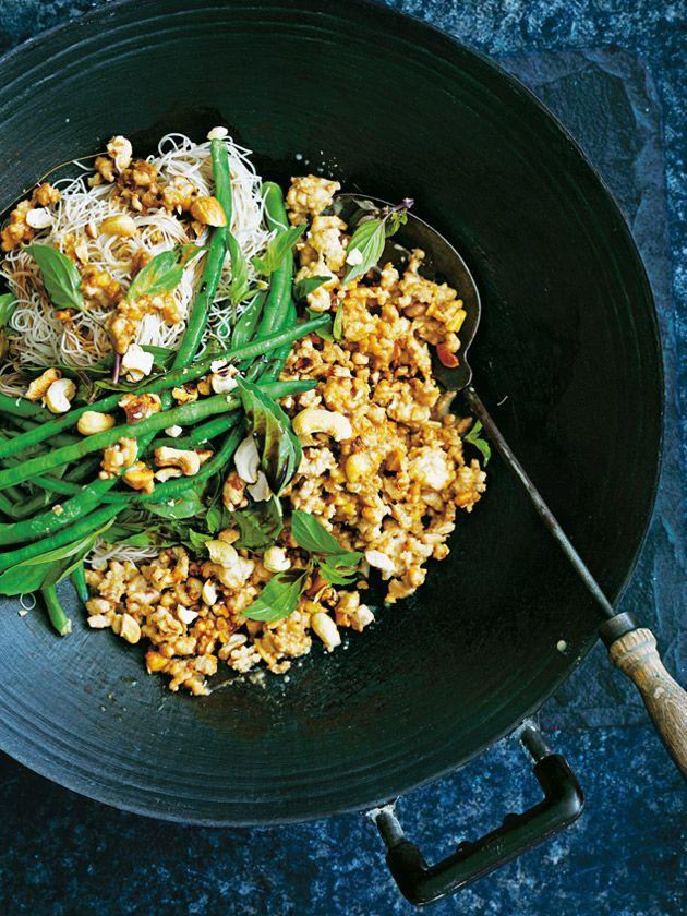 cashew and tahini satay chicken stir-fry