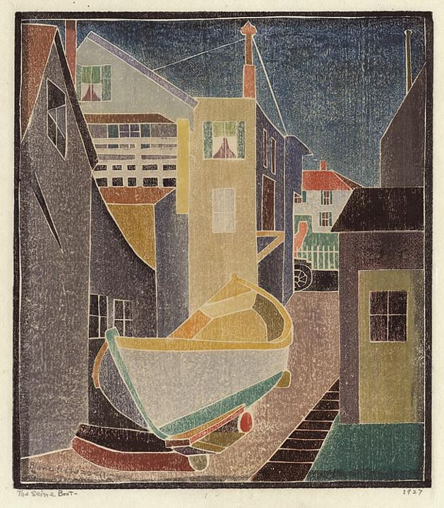white line woodcut | blanche lazzell the seine boat 1927 white line color woodcut