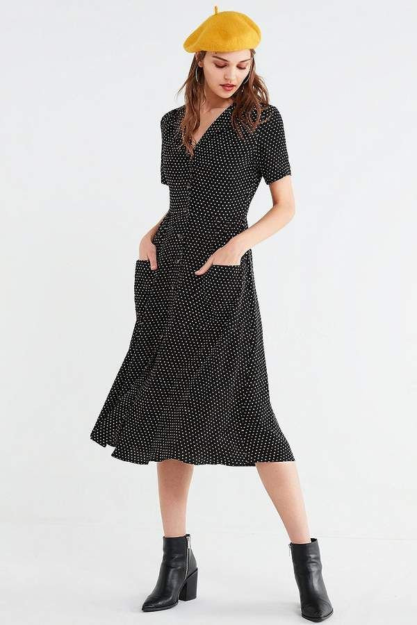 f0250df4a93 Urban Outfitters UO Polka Dot Button-Down Midi Shirt Dress