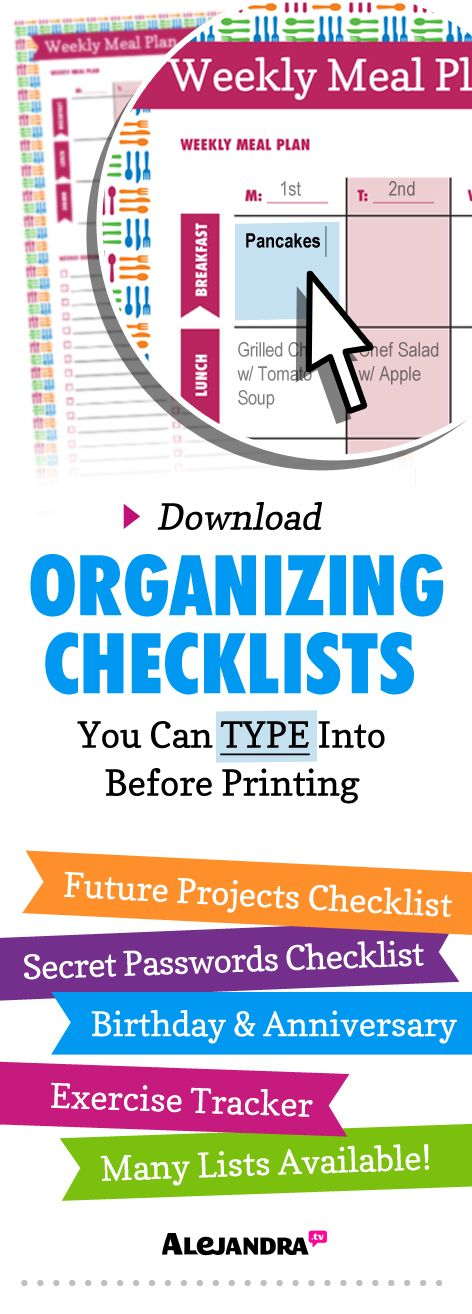 Download Organizing Checklists from https://www.alejandra.tv/shop/printable-home-organizing-checklists/