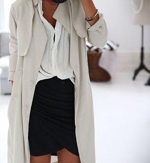 trench, black skirt, white blouse