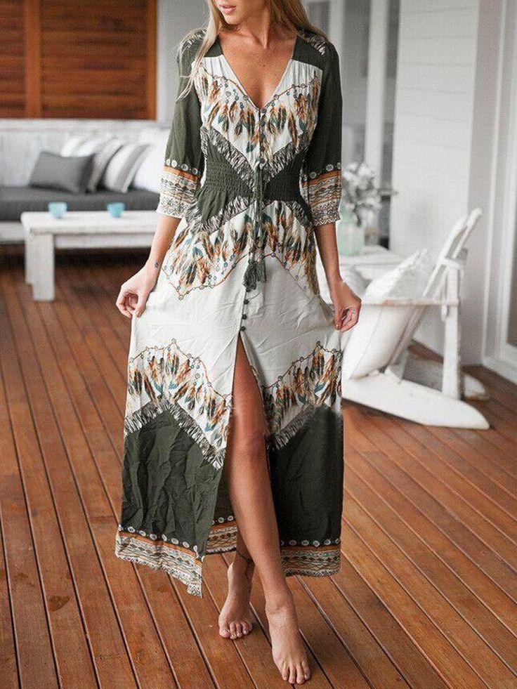 Multicolor, Tribal, Tasseled, Tie Button, Front Split,Maxi Dress