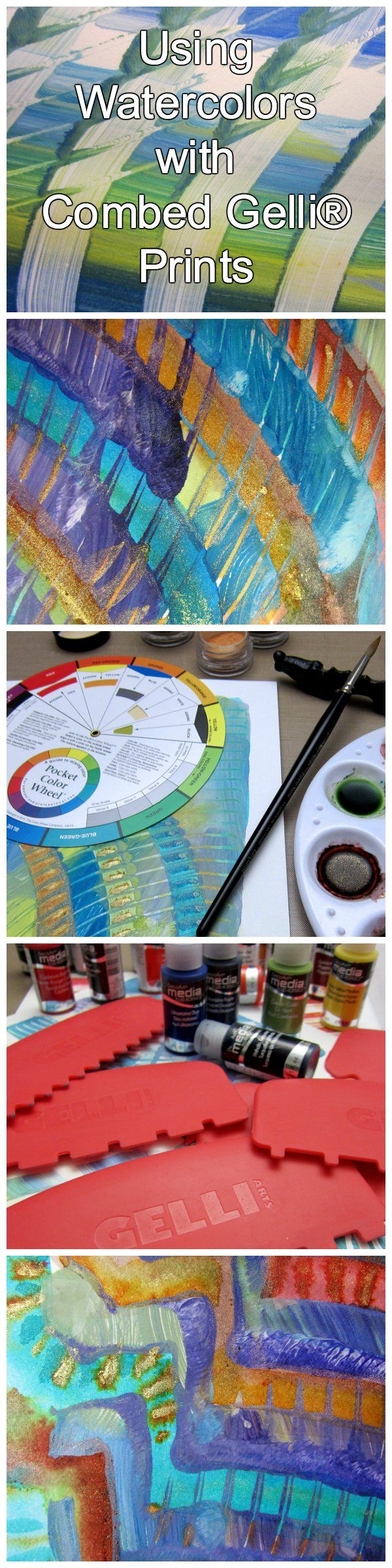 Printing with Gelli Arts: Rather than using traditional watercolors (although they work beautifully)—I'm experimenting with some incredible pigment powders from Lindy's Stamp Gang, called 'Magicals'. They're named so perfectly—these pigments contain mica, so they sparkle and shine! For watercolor effects, simply add water and mix the desired intensity of each color. The pale powders morph into rich, metallic colors when water is added. Magic! And perfect for adding pizzazz to a print!