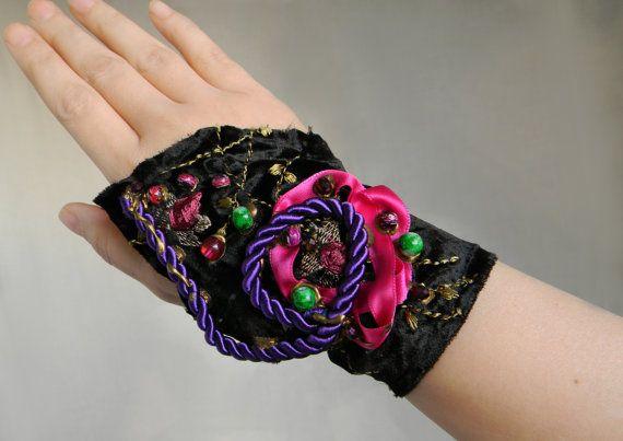 Gypsy Cuff Bracelet Fabric Wrist Cuff Ethnic Jewelry by Elyseeart