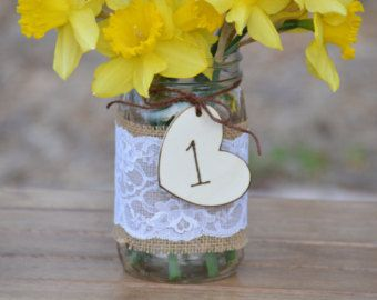 rustic mason jar centerpieces, burlap and lace mason jar centerpiece, shabby chic table numbers, country wedding decor, burlap wedding table