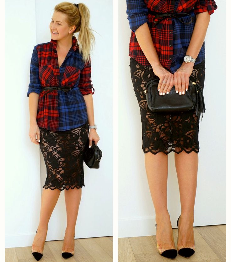 Plaid shirt & lace skirt. Рубашка в клетку с кружевной юбкой