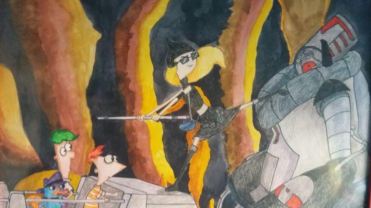 Phineas y Ferb. Realizado por Alicia Ruiz en lapicero de color, acuarela y rotulador.
