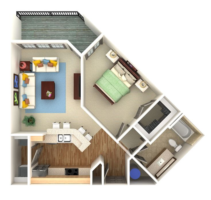 Apartment/condo overhead 3D rendering. preVision 3D, LLC | 3D Floor Plans and Site Plans