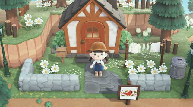 Been Working On The Outside Of My House Since I Had This Whole Area Empty For A Long Time Animal Crossing Villagers Animal Crossing Game Animal Crossing