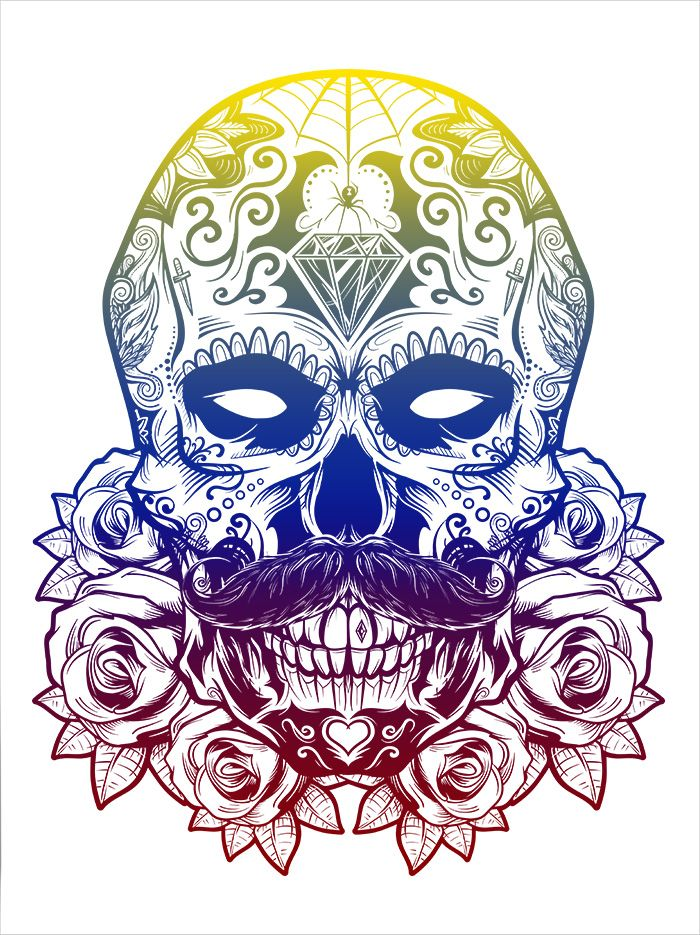 """Debonair Sugar Skull"" split fountain screen print by Matthew Johnson. Prints are limited to 20, signed/numbered, and are available through the Seventh.Ink Store. This print is 18x24 and printed on 140# French White paper.  Find me on: Facebook 