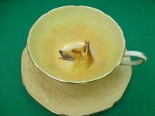 Exceptional + scarce Paragon dog German Shepherd cup + saucer: