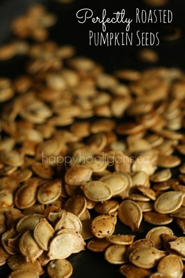 Perfectly Roasted Pumpkin Seeds - slightly salted, nutty, crunchy and golden brown.  They're absolutely delicious! - HAPPY HOOLIGANS