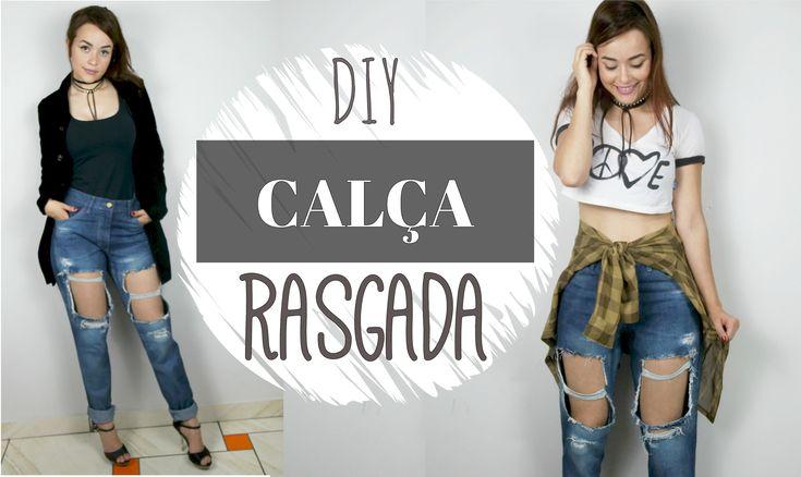 Como fazer Destroyed Jeans| Calça Rasgada #lookdasgringa - YouTube