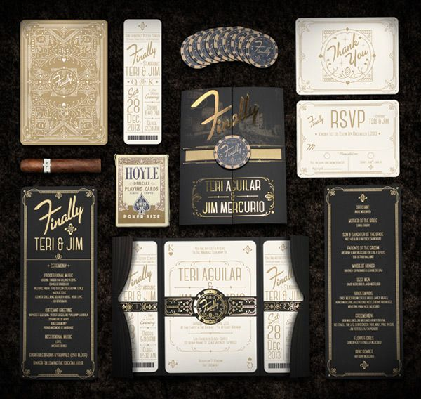 Vintage Vegas Wedding Invitations By Anthony Gregg Lettering And Typography  And Branding Inspiration    Love The Black And Gold Of Course.