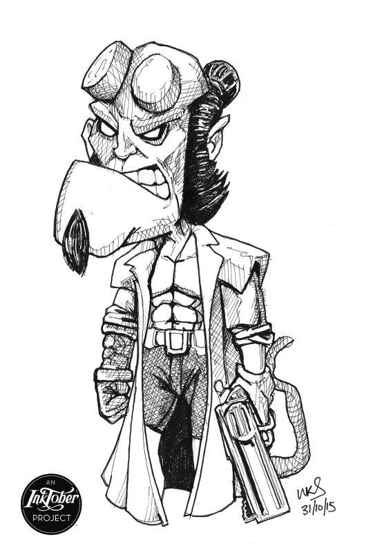 @MrSmithMachine - #inktober Day 31: Hellboy