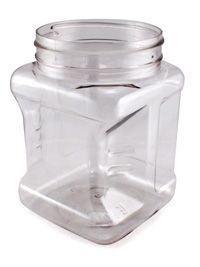 32 oz Square Clear PET Grip Container : Square Plastic Jars