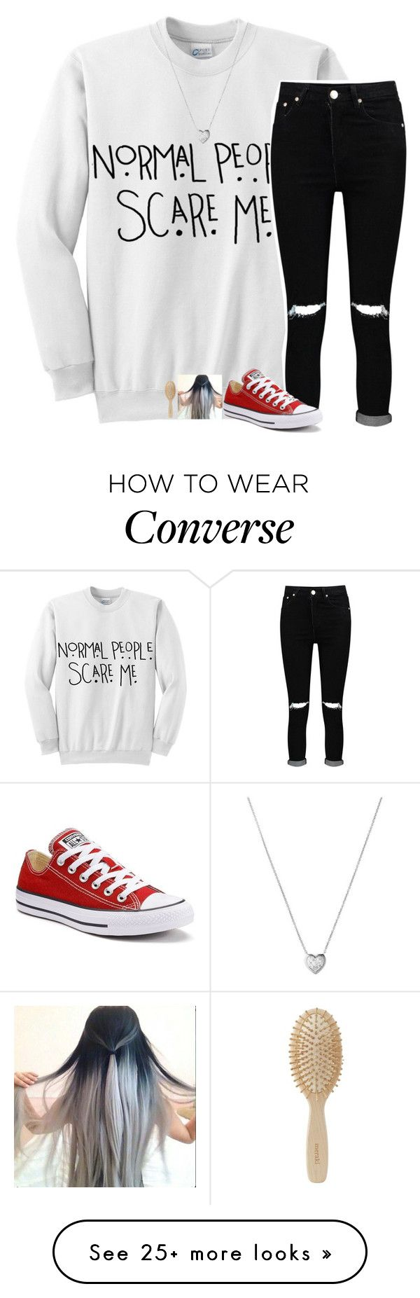 """""""-- normal people scare me"""" by jxst-like-galaxy on Polyvore featuring Boohoo, Converse, Links of London and Meraki"""