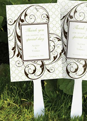 geometric flourish wedding favor fans set of choose between the white plastic handles shown or wooden handles the fans measure 5 x 7