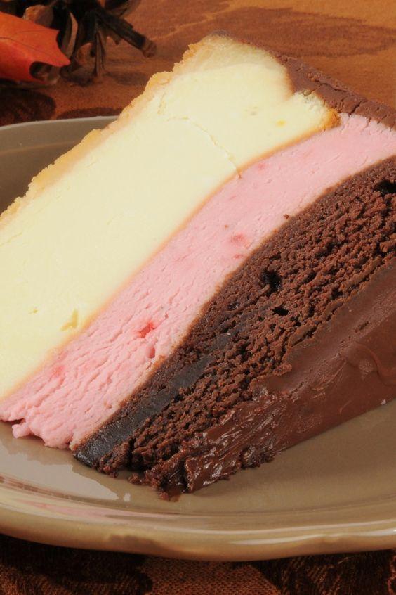 3 Layer Neapolitan Cheesecake Recipe with a Graham Cracker Crust - white chocolate, strawberry, and semi-sweet chocolate layers