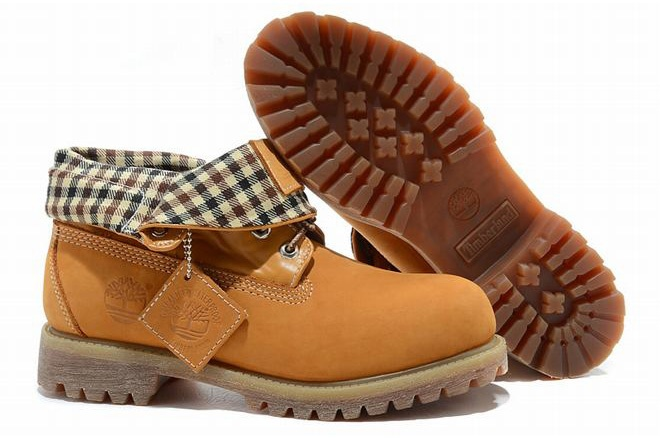 sale Mens Timberland Roll Top Boots Wheat Checked discount