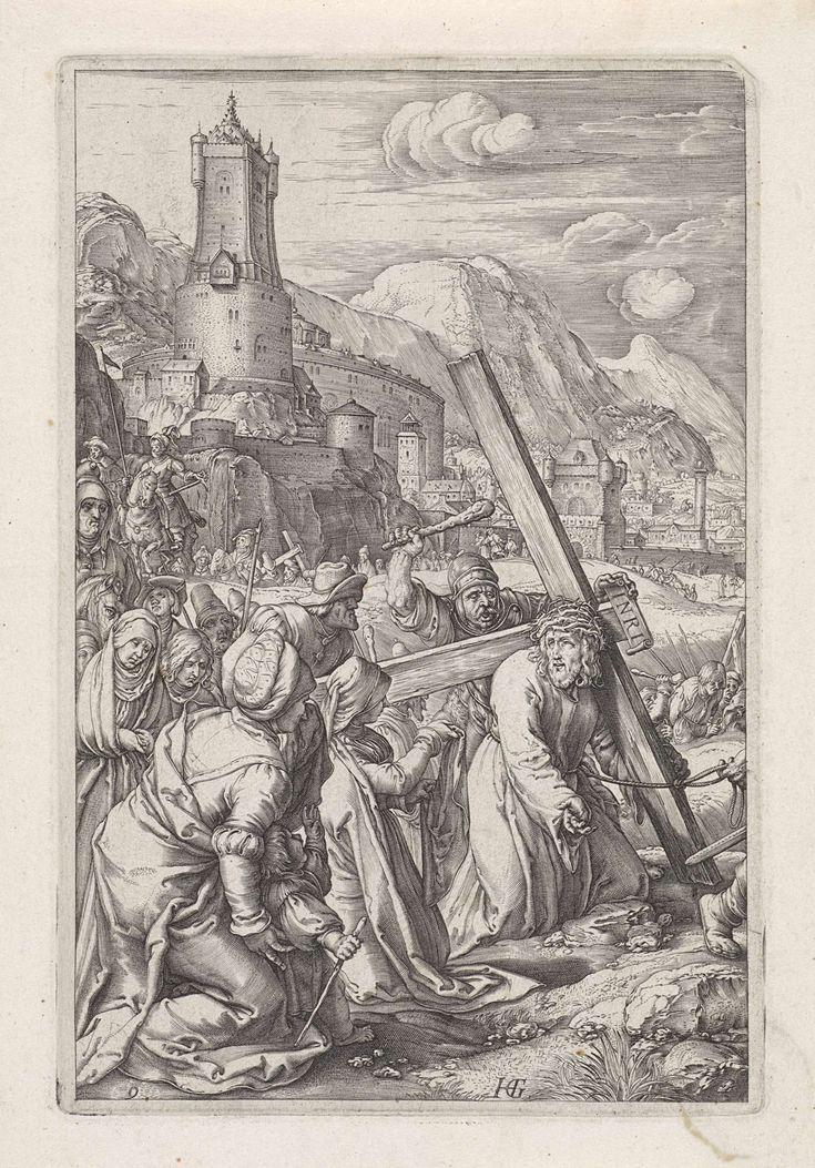 Anonymous   Kruisdraging, Anonymous, 1596 - 1667   Christus draagt het kruis naar Golgota. Veronica knielt naast hem en biedt hem een doek aan. Achter hen de stoet met onder andere Maria en Johannes. Op de achtergrond Jeruzalem.