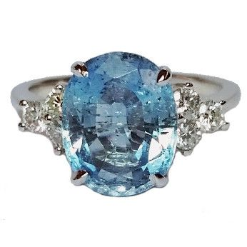 14 Karat White Gold 1 Oval Cut Aquamarine: 3.50 cttw 6 Round Brilliant Cut Diamonds: 0.36 cttw VS Clarity & G Color Size 7 Stock #200-2000327