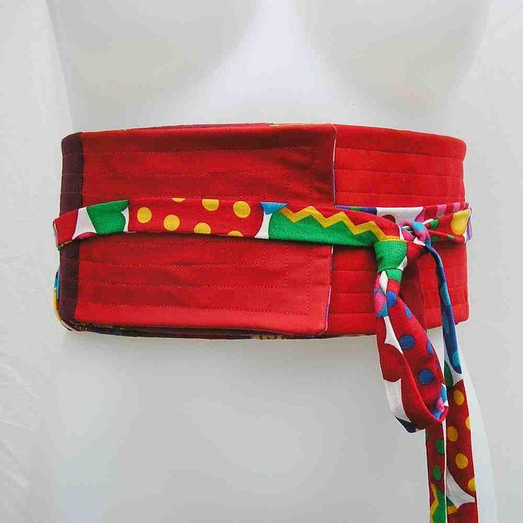 Red Obi belt, plus size obi, plus size sash belt, plus size wrap belt, obi belt, red belt, upcycled belt, reversible belt, fabric belt by Rethreading on Etsy