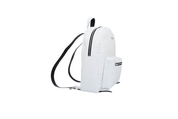 White leather backpack, Leather backpack black and white backpack by MONAObags