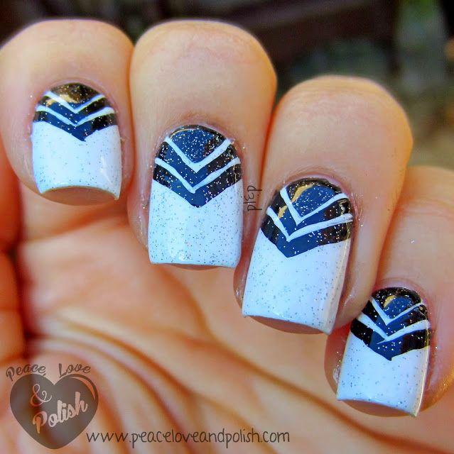 #nail #nails #nailart #polish #naildesign #blue #triangles #tape