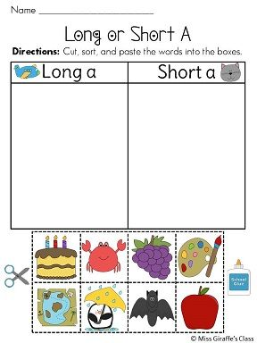 18 different long and short vowel cut and paste sorts -- that's almost 4 weeks of daily practice and 144 different pictures for kids to sort! Great practice! Love how there's visual directions