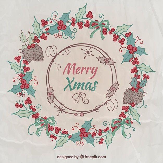 Free vector Merry christmas wreath #34111