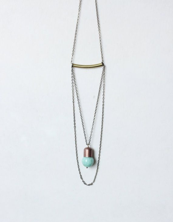 Minimalist Geometric round mint blue amazonite necklace with brass tube-brass triangle tube necklace-Minimalist boho layerling necklace