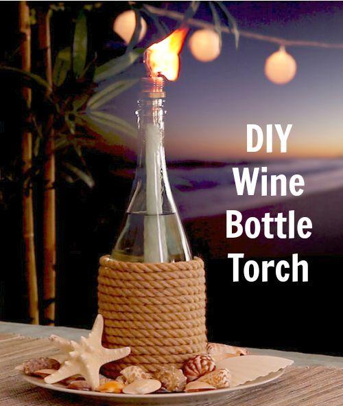 Wine Bottle Tiki Torch Oil Lamp: http://www.completely-coastal.com/2016/05/wine-bottle-tiki-torch-oil-lamps-nautical-beach-theme.html How to make a tiki torch oil lamp with a wine bottle!