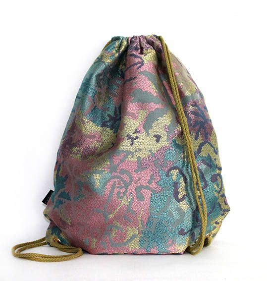 Pink Camouflage silk cotton drawstring bag backpack by PopaStore on Etsy