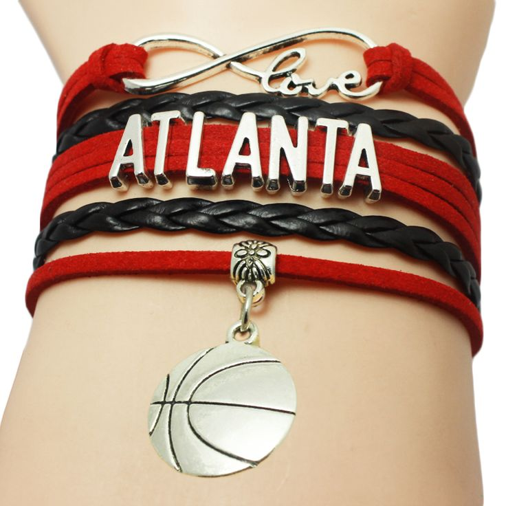 Infinity Love Atlanta Football Team Bracelet Wrap Braid Customize Sports wristband Football Charm Bracelets #Affiliate