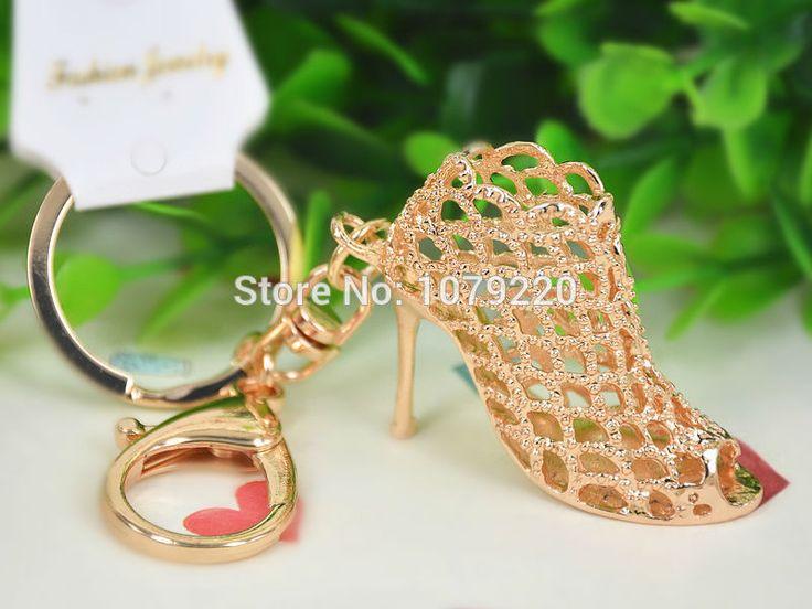 Ву золото высокая туфли на высоком каблуке обувь женщины кольца автомобиль брелок ювелирные изделия женщины мешок ключ милый подвески кулон ключ цепь подарок Moda