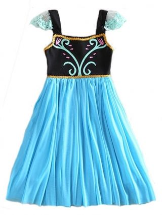 cheap Girls' Animated Frozen Anna and Elsa Halloween Costume