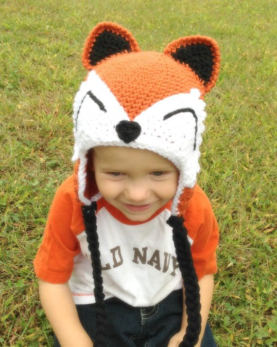Crochet Fox Hat for Boys or Girls Photo Prop by PinkLemonKnits, $35.00