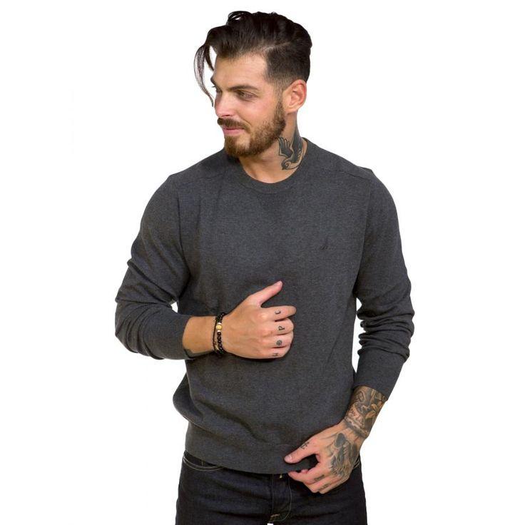 NAUTICA Ανδρικό ανθρακί πλεκτό πουλόβερ Δείτε το στο http://bit.ly/2ehI6nu