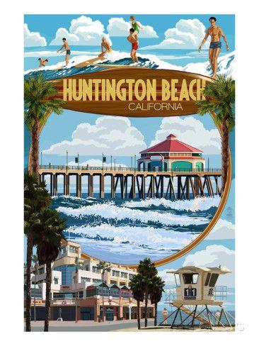 Huntington Beach, California - Montage Scenes Prints by Lantern Press at AllPosters.com