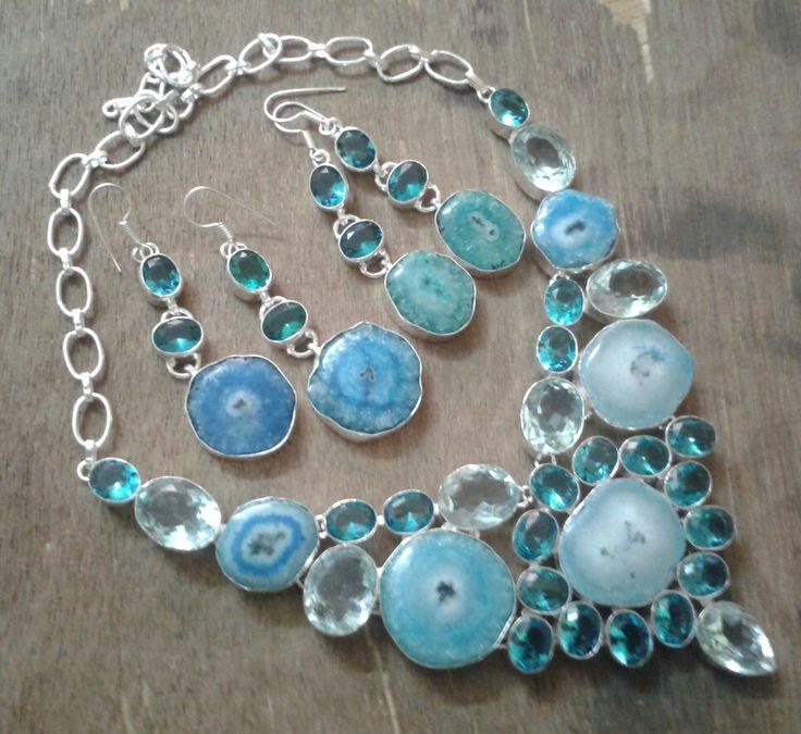Solar quartz statement necklace