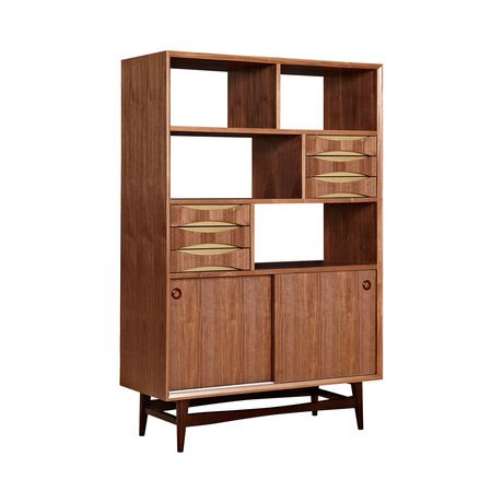 Beautifully designed, this Cosgrove Storage Unit will prove a handsome and handy addition to your home office or den. With stunning walnut wood veneer and sleek, solid walnut wood legs, this storage un...  Find the Cosgrove Storage Unit, as seen in the Eccentric Meets Rustic in Madison Collection at http://dotandbo.com/collections/eccentric-meets-rustic-in-madison?utm_source=pinterest&utm_medium=organic&db_sku=115615