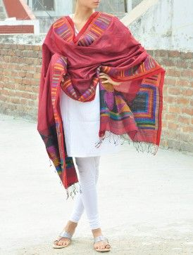 Maroon Silk Jamdani Dupatta - Geometric